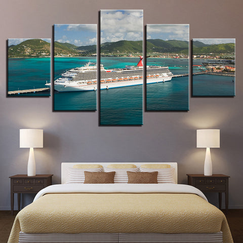 Carnival Cruise Lines Ship In St Maarten 5 Panel Canvas Print Wall Art Canvas Print Got It Here