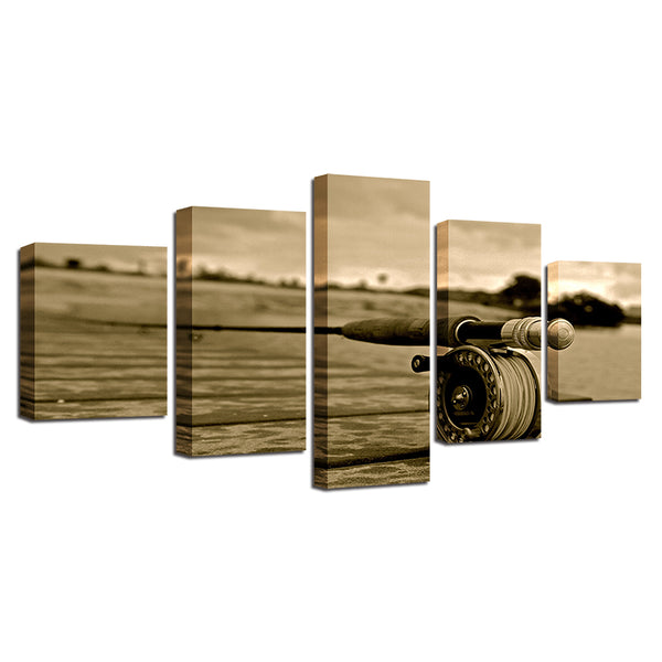 Fly Fishing 5 Panel Canvas Print Wall Art