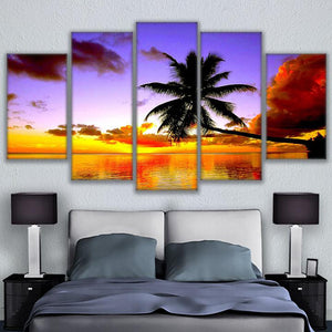 Beach Palm Tree Over The Water 5 Panel Canvas Print Wall Art Canvas Print Got It Here