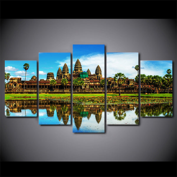 Angkor Wat Temple Cambodia 5 Panel Canvas Print Wall Art Canvas Print Got It Here