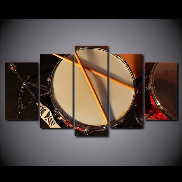 Drums Drumming Drum Set 5 Panel Canvas Print Wall Art Canvas Print Got It Here
