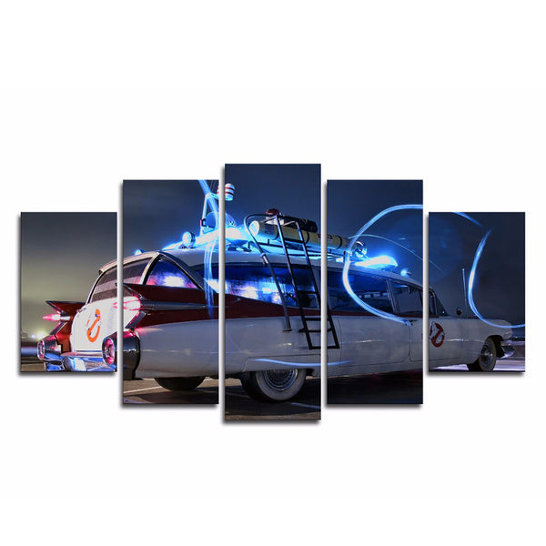 Ghostbusters Ecto-1 5 Panel Canvas Print Wall Art Canvas Print Got It Here