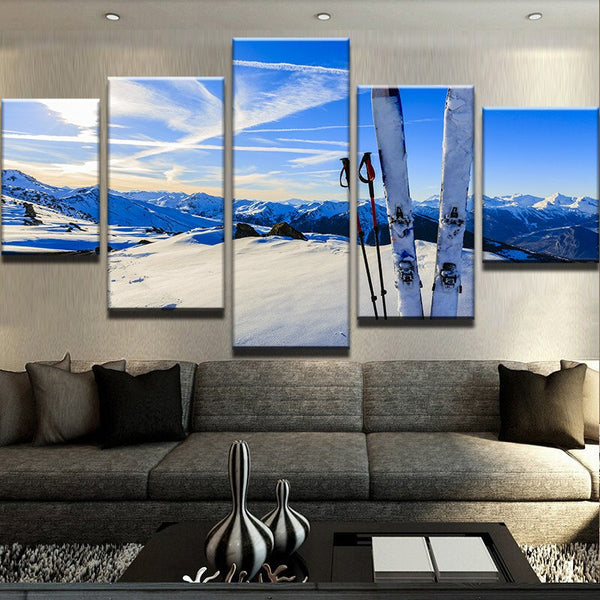 Downhill Skiing 5 Panel Canvas Print Wall Art Canvas Print Got It Here