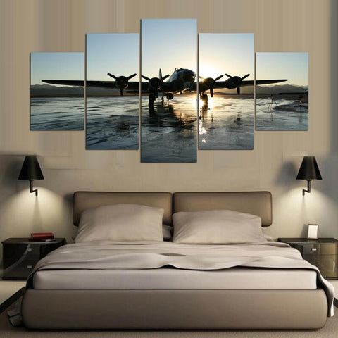 B-17 Flying Fortress World War 2 WWII 5 Panel Canvas Print Wall Art