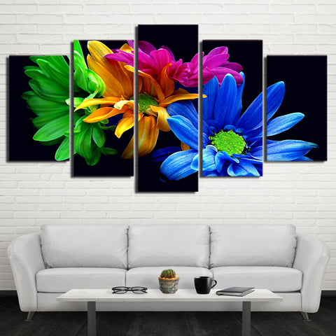 Rainbow Daisies 5 Panel Canvas Print Wall Art Canvas Print Got It Here