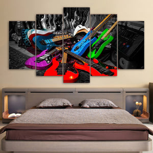 Electric Guitars 5 Panel Canvas Print Wall Art