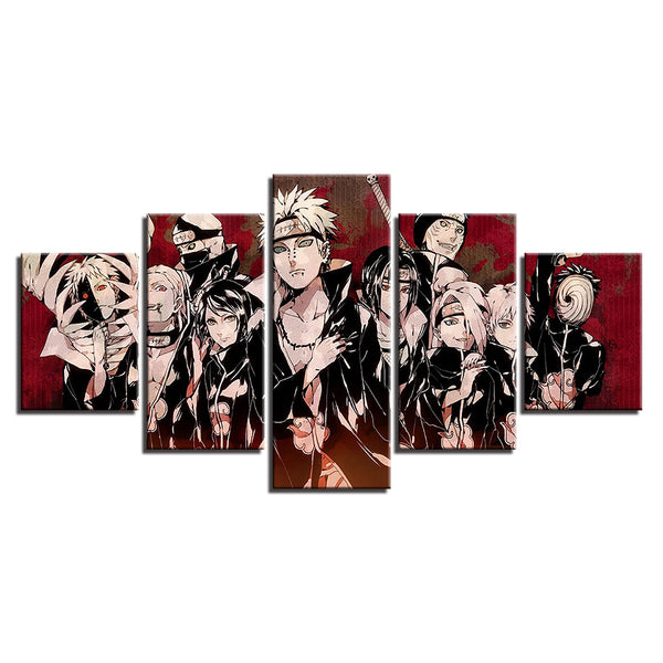 Naruto Characters 5 Panel Canvas Print Wall Art