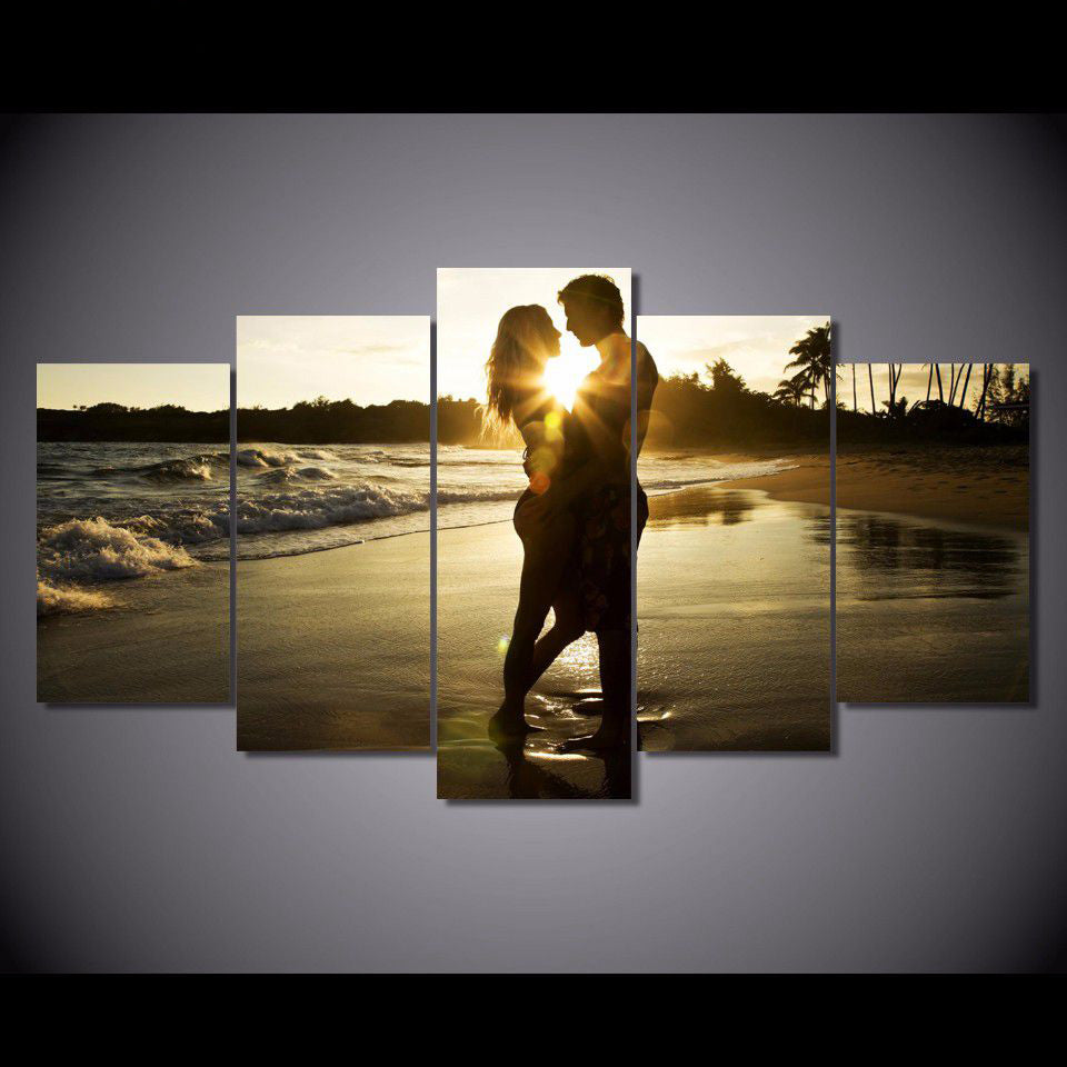 Lovers On The Beach 5 Panel Canvas Print Wall Art Canvas Print Got It Here