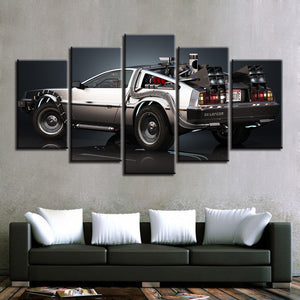 Back To The Future DeLorean 5 Panel Canvas Print Wall Art Canvas Print Got It Here