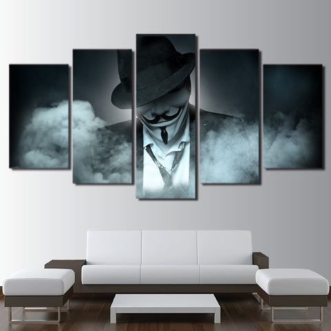 Guy Fawkes Mask Anonymous Suit 5 Panel Canvas Print Wall Art Canvas Print Got It Here