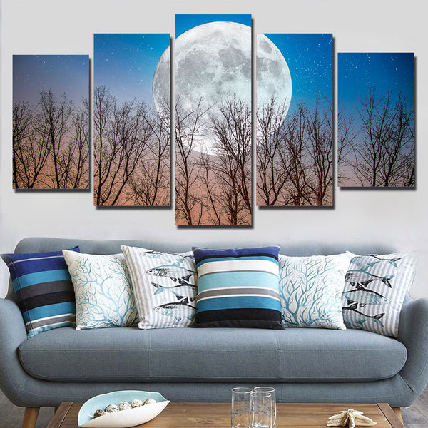 Full Moon In Late Fall At Dusk 5 Panel Canvas Print Wall Art
