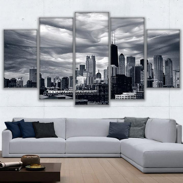 Chicago Skyline 5 Panel Canvas Print Wall Art