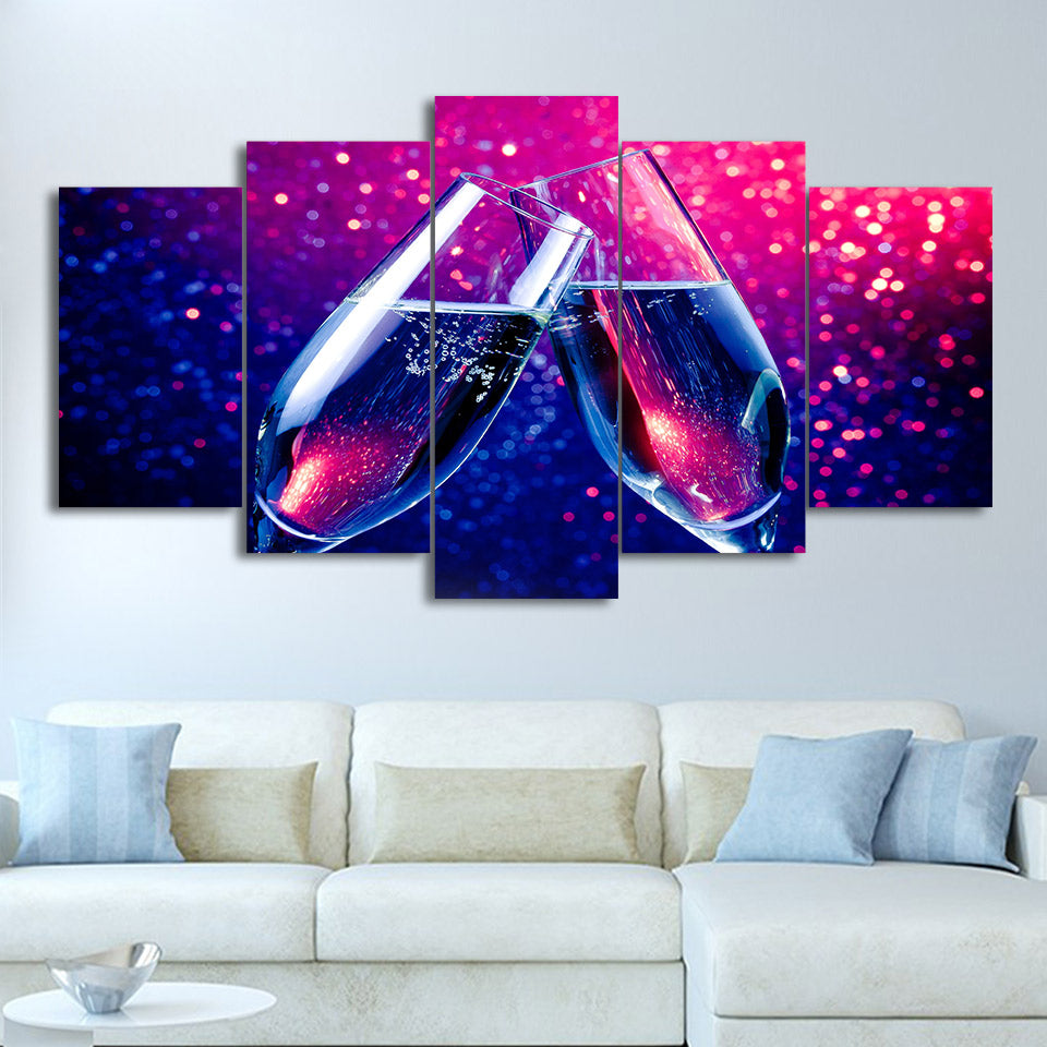 Champagne Toast Celebration 5 Panel Canvas Print Wall Art Canvas Print Got It Here