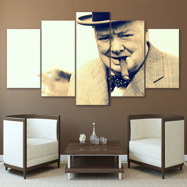 Winston Churchill 5 Panel Canvas Print Wall Art