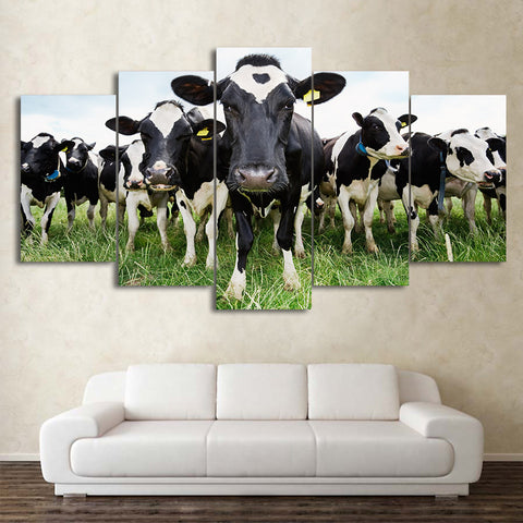 Herd Of Cows Saying Hello 5 Panel Canvas Print Wall Art
