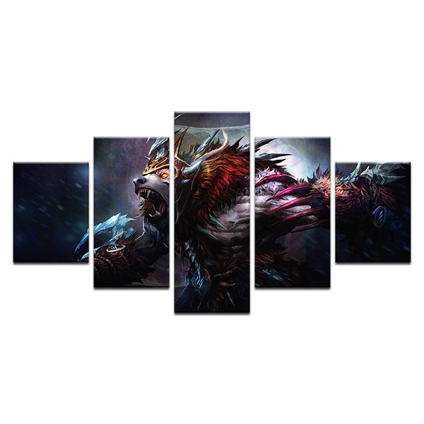League Of Legends Game Warwick Wolf 5 Panel Canvas Print Wall Art