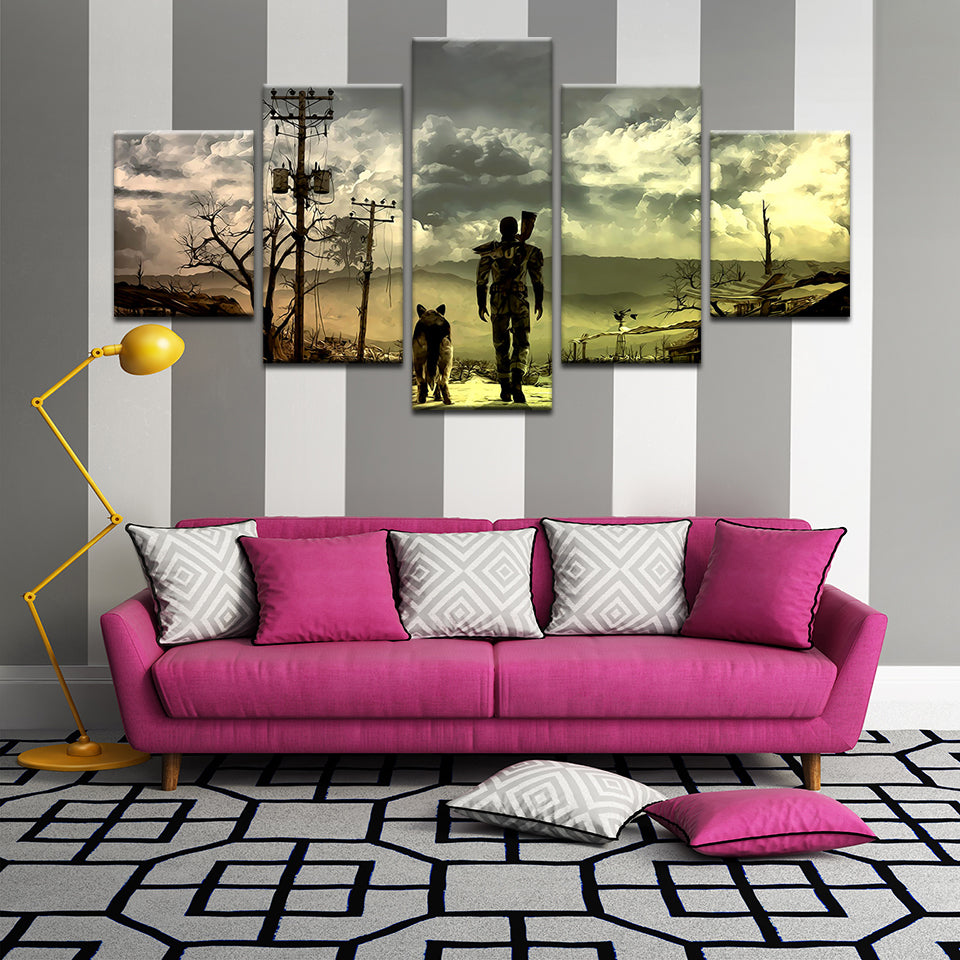 Fallout 4 Man and Dog 5 Panel Canvas Print Wall Art