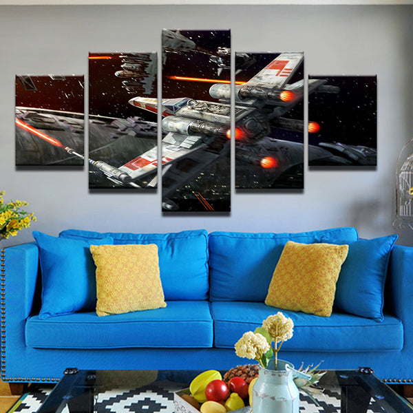 Star Wars X-Wing Fighter 5 Panel Canvas Print Wall Art