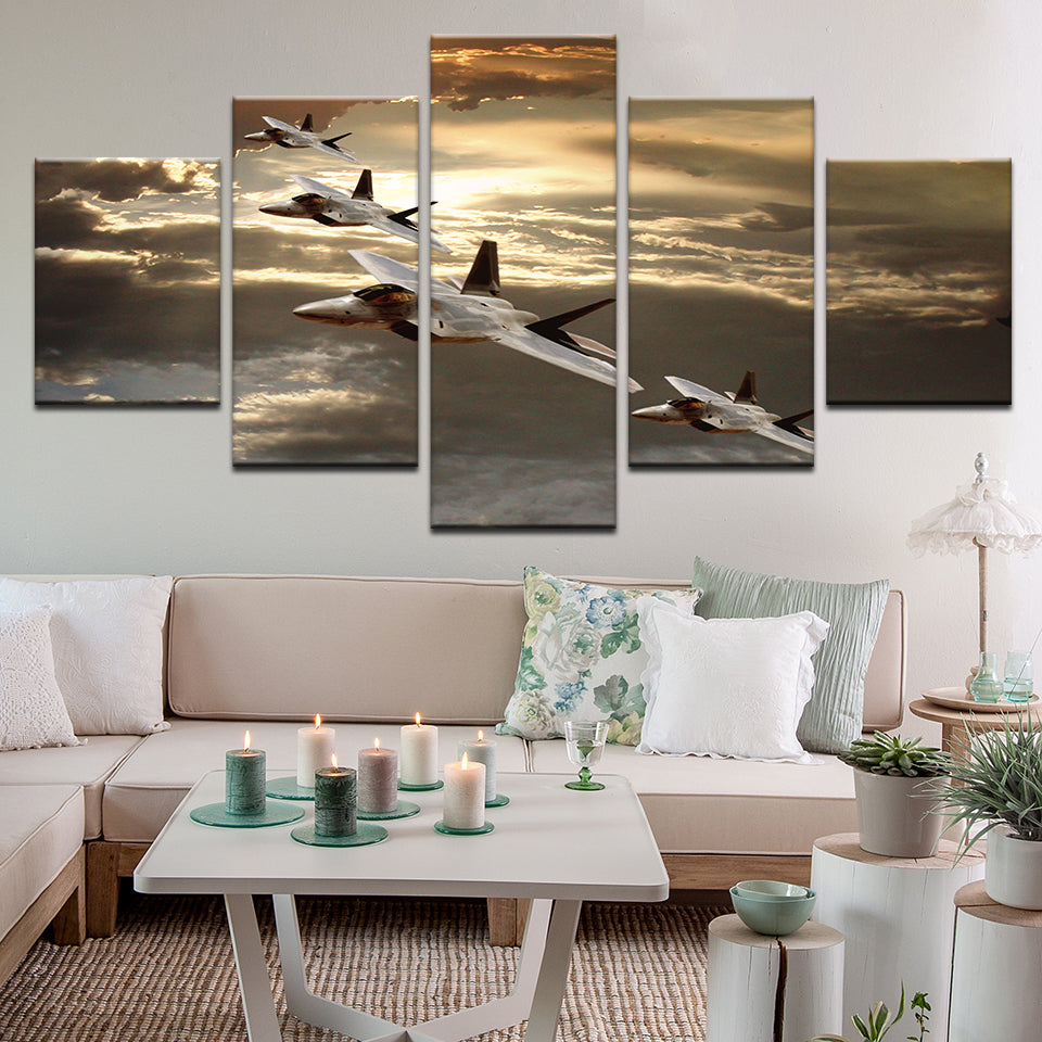 F-22 Raptor Fighter Jets 5 Panel Canvas Print Wall Art
