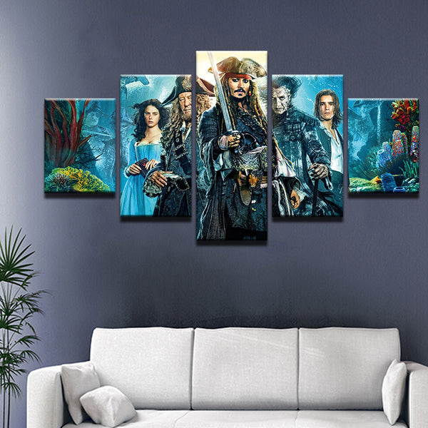 Pirates of the Caribbean 5 Panel Canvas Print Wall Art