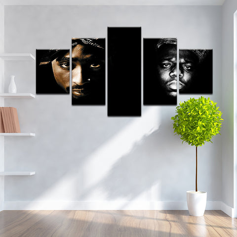 The Notorious B.I.G Tupac 5 Panel Canvas Print Wall Art
