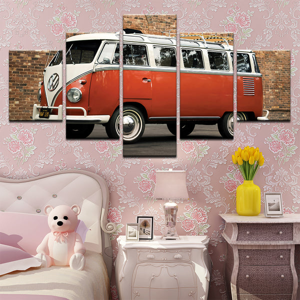 VW Volkswagen Van 5 Panel Canvas Print Wall Art