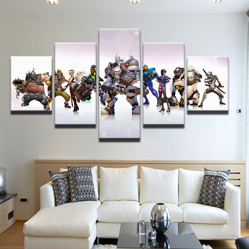Overwatch Heroes Game Characters 5 Panel Canvas Print Wall Art