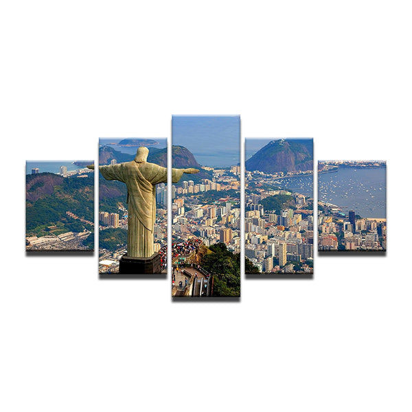 Christ The Redeemer Rio De Janeiro Brazil 5 Panel Canvas Print Wall Art