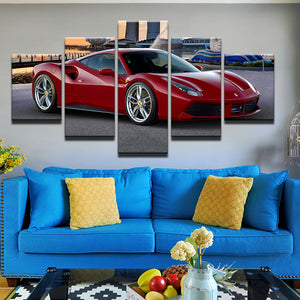 Ferrari 488 5 Panel Canvas Print Wall Art