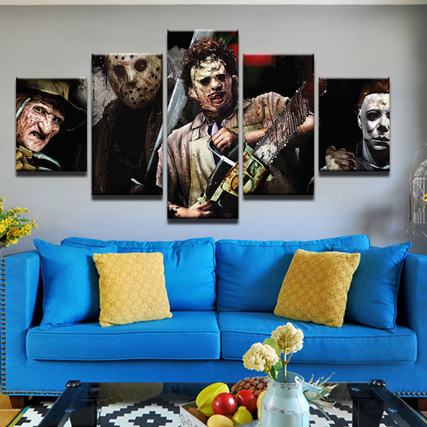 Horror Movie Characters Freddie Jason Michael Myers 5 Panel Canvas Print Wall Art