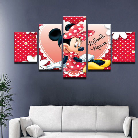Disney Minnie Mouse 5 Panel Canvas Print Wall Art