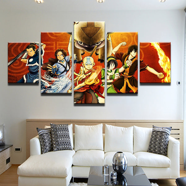 Avatar: The Last Airbender 5 Panel Canvas Print Wall Art