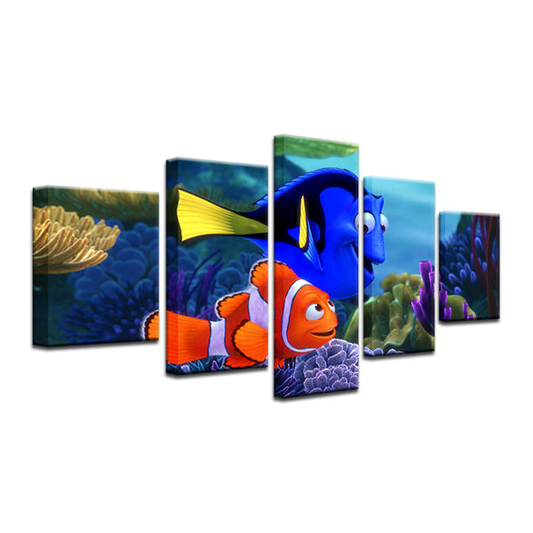 Finding Nemo Dory And Nemo 5 Panel Canvas Print Wall Art