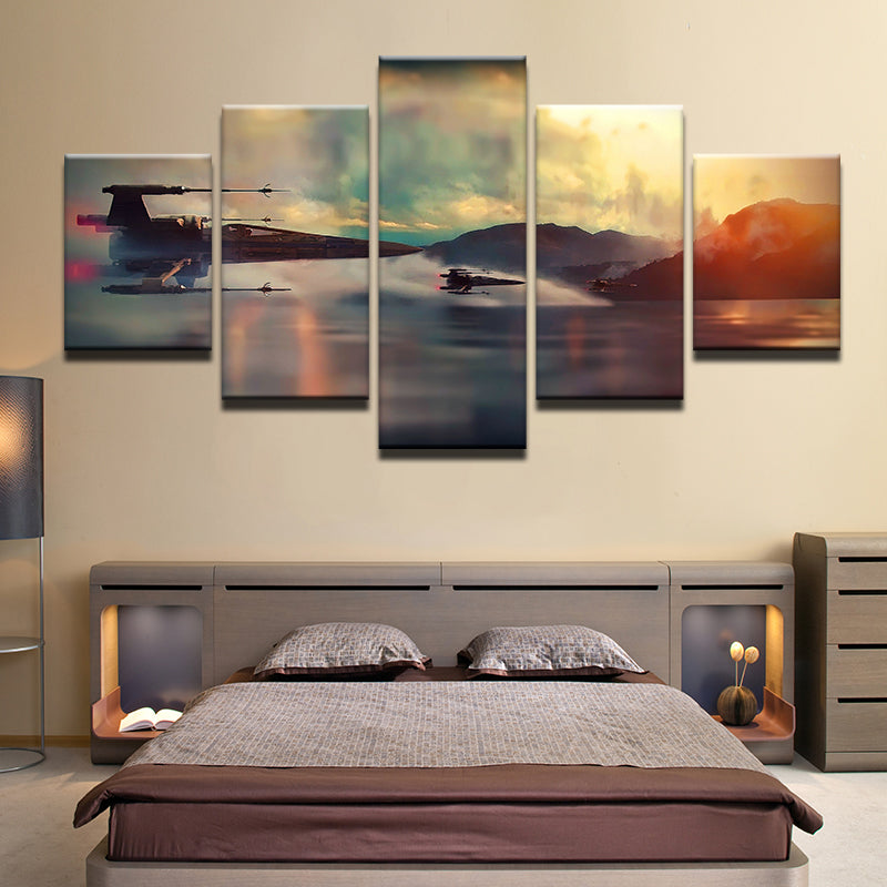 Star Wars X Wing Fighters 5 Panel Canvas Print Wall Art