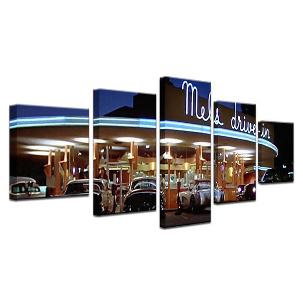 Mel's Drive In American Graffiti 5 Panel Canvas Print Wall Art