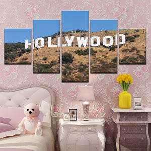 Hollywood Sign California 5 Panel Canvas Print Wall Art
