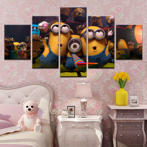 Minions Despicable Me 5 Panel Canvas Print Wall Art