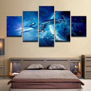 Star Trek Enterprise 5 Panel Canvas Print Wall Art