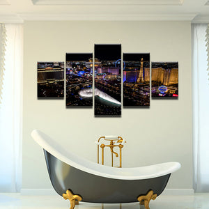 Las Vegas Strip At Night 5 Panel Canvas Print Wall Art