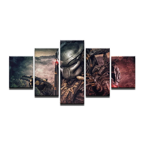 Predator Movie 5 Panel Canvas Print Wall Art