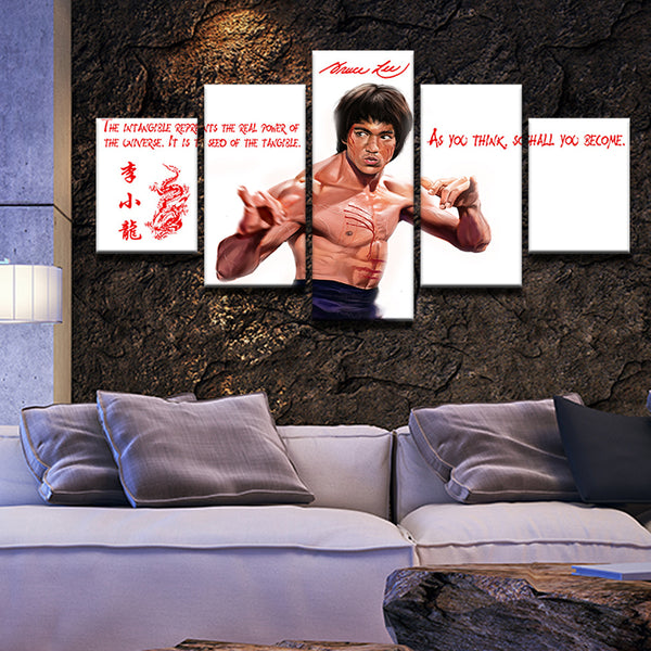 Bruce Lee Quotes 5 Panel Canvas Print Wall Art
