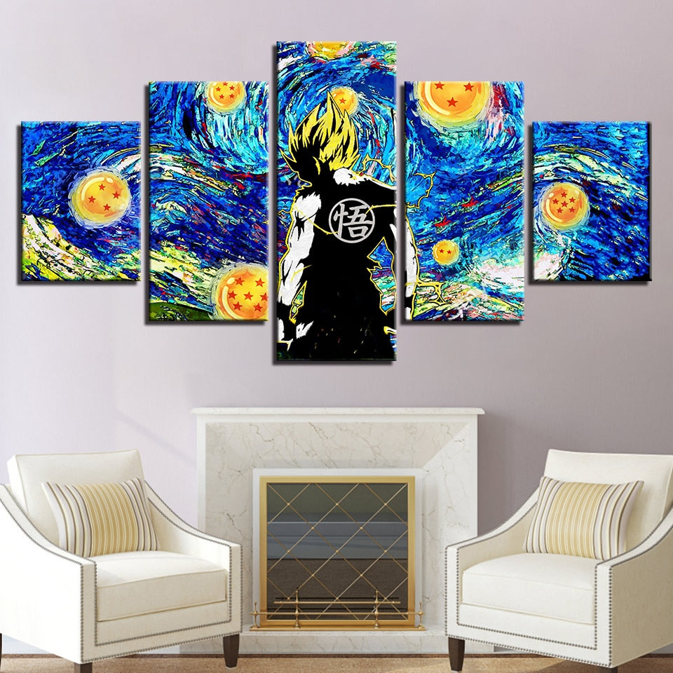 One Piece Starry Night Vincent Van Gogh 5 Panel Canvas Print Wall Art