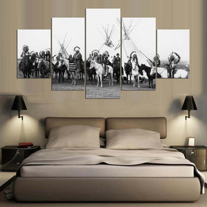 Native American Indian Warriors Teepees 5 Panel Canvas Print Wall Art