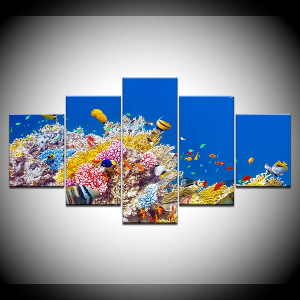 Tropical Fish On Reef 5 Panel Canvas Print Wall Art