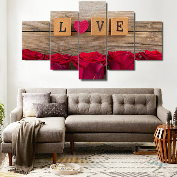 Love Scrabble Tiles With Roses Valentine's 5 Panel Canvas Print Wall Art