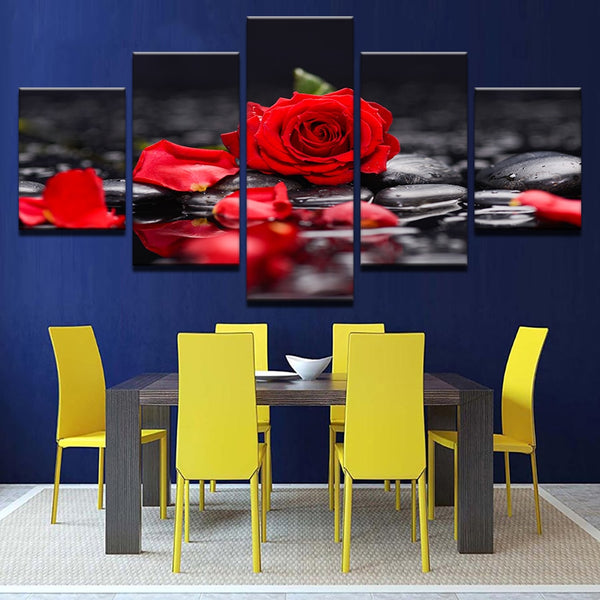 Red Rose In The Water 5 Panel Canvas Print Wall Art