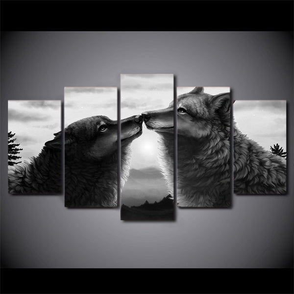 Wolves Touching Noses 5 Panel Canvas Print Wall Art
