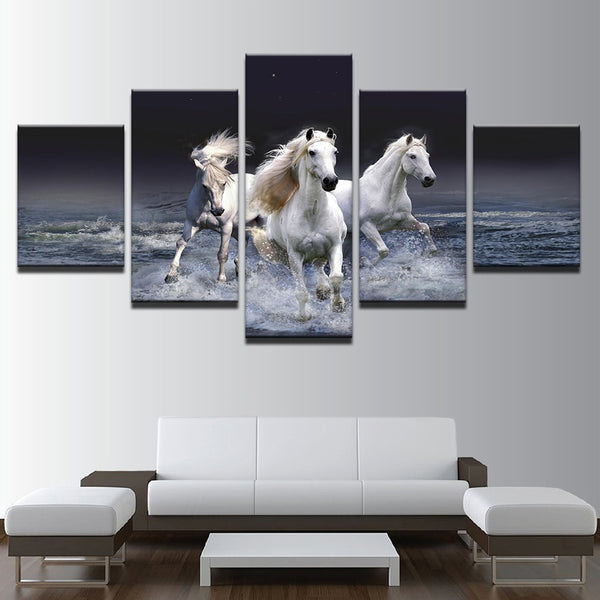 White Horses Running In Water 5 Panel Canvas Print Wall Art