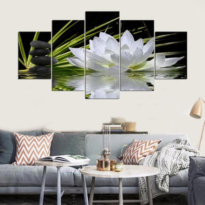 White Lotus Flower Balancing Stones Water 5 Panel Canvas Print Wall Art