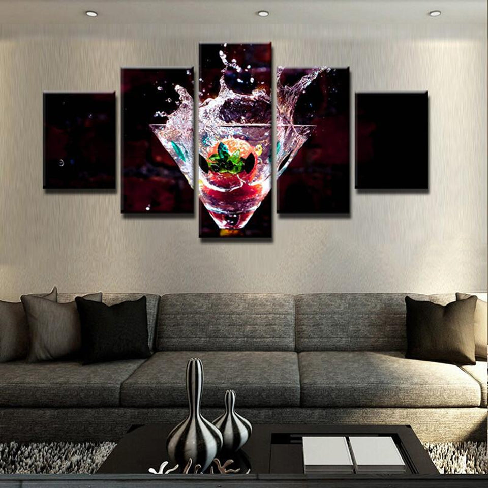 Martini Cocktail Highball Bar Restaurant 5 Panel Canvas Print Wall Art
